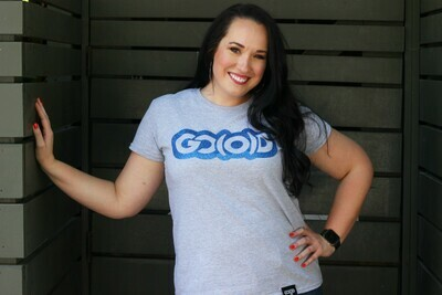 Women's GO(O)D Classic Tee-heather gray/navy glitter logo