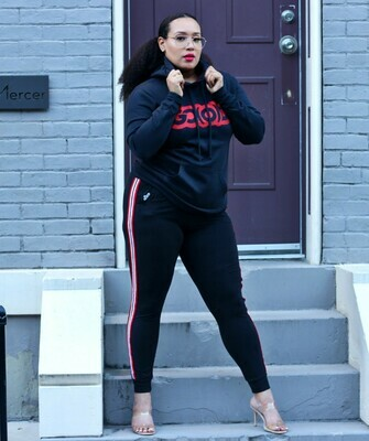 Women's Joggers-black/red, white stripe