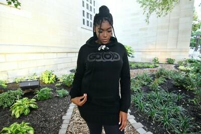 Women's Hoodie Tunic-black/black glitter logo