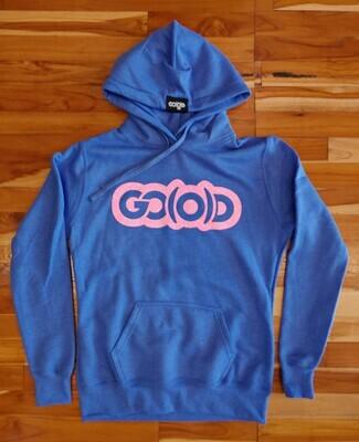 Women's GO(O)D Hoodie-sapphire blue/hot pink glitter logo