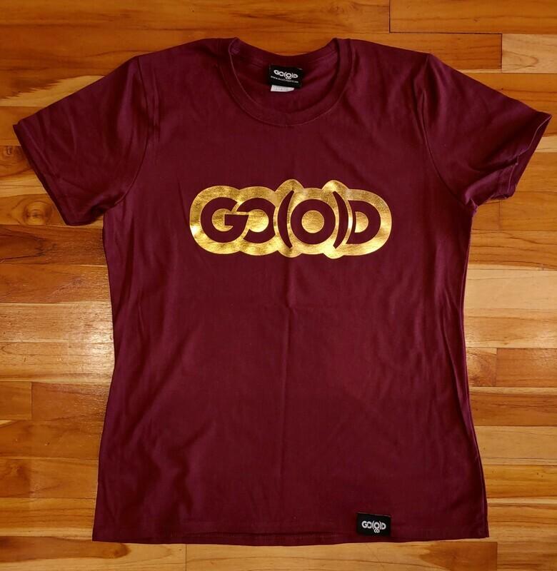Women's Classic GO(O)D Tee-maroon/gold foil logo