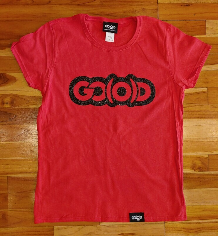 Women's GO(O)D Classic Tee-red/black glitter logo