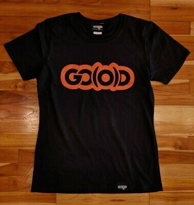 Women's GO(O)D Classic Tee-black/orange glitter logo