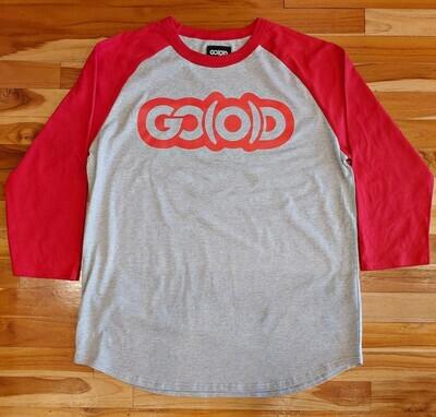 GO(O)D Baseball Tee-gray/red/red logo