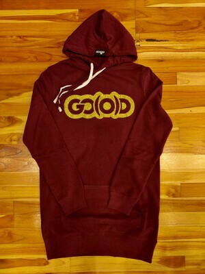 Women's Hoodie Tunic-maroon/gold glitter logo