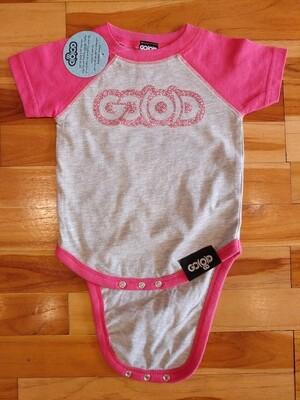 GO(O)D Onesie-gray/pink/pink glitter logo