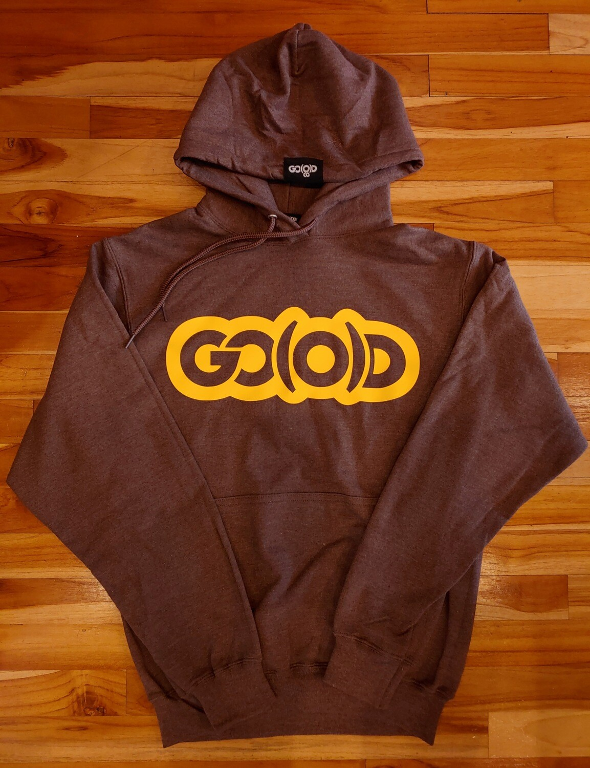GO(O)D Inbox Logo Hoodie-heather chocolate/gold logo