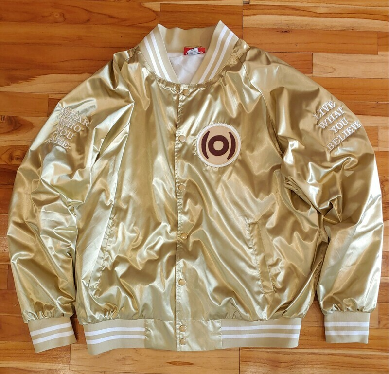 GO(O)D Dual Logo Throwback Jacket-champagne/maroon *MADE TO ORDER*