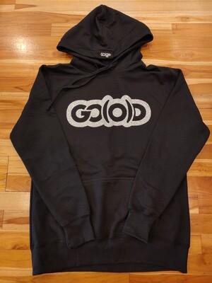 Women's Hoodie-black/silver glitter logo