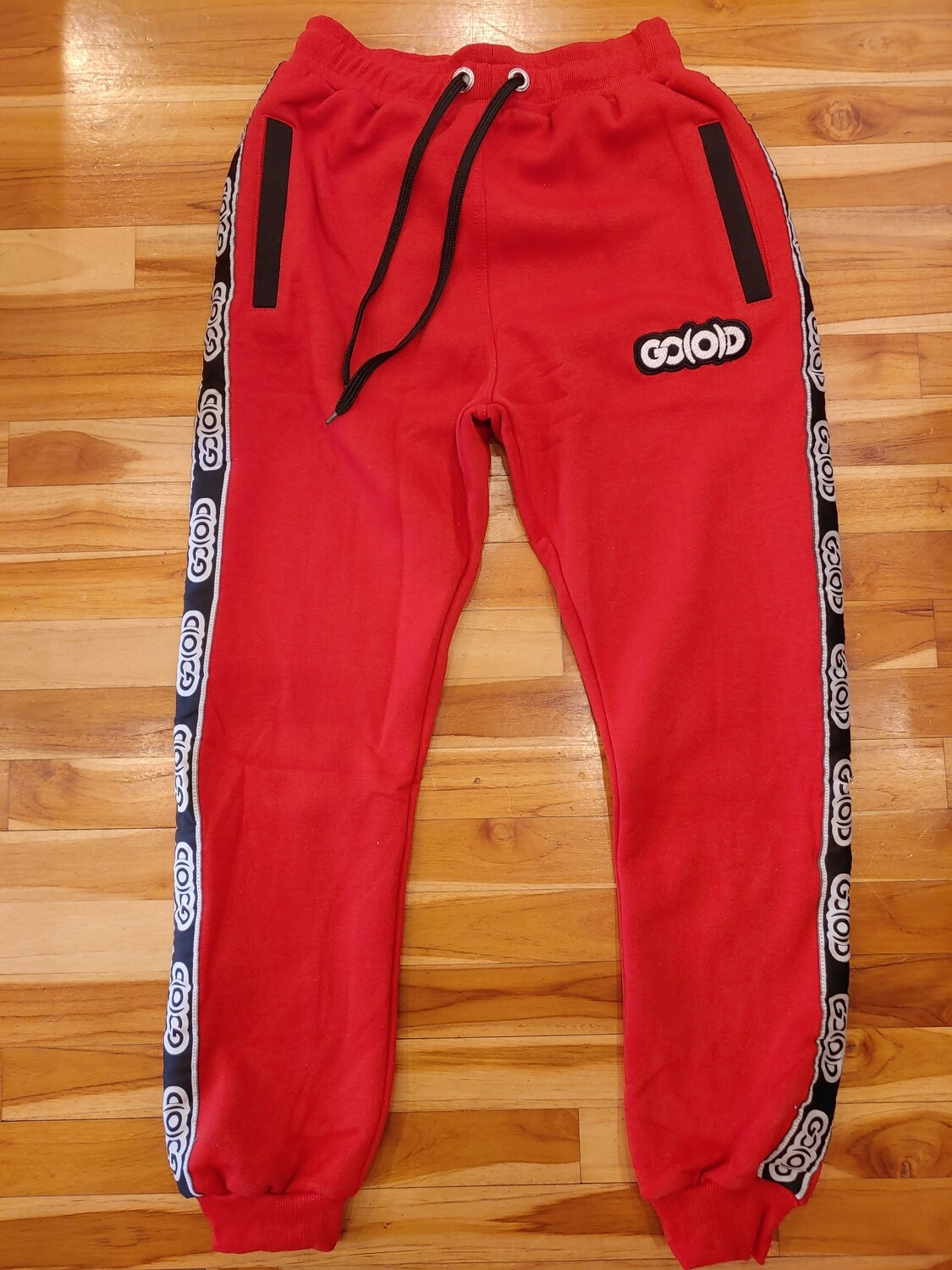 Rich Red Strip Joggers-red/black/white (slim fit)