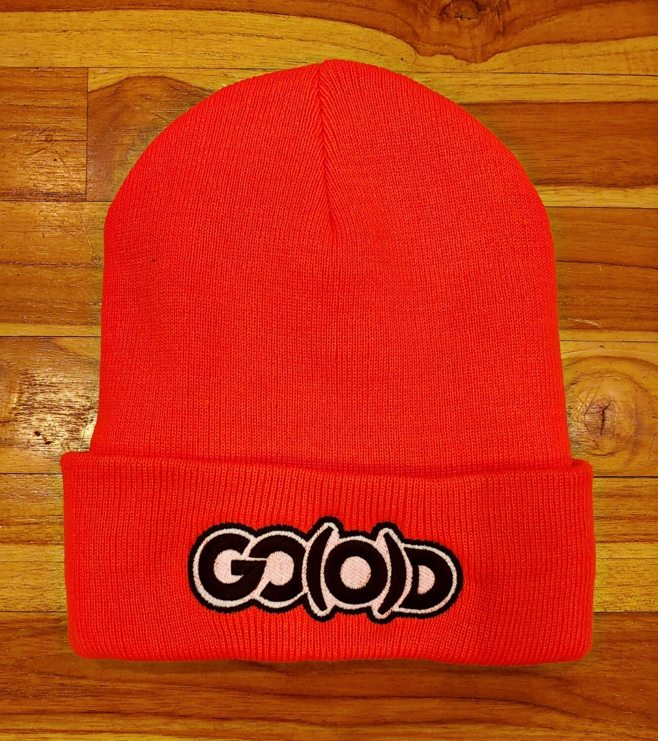 GO(O)D Beanie-neon orange/white.black