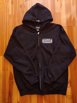 GO(O)D Zip Up Hoodie-black/white inbox logo