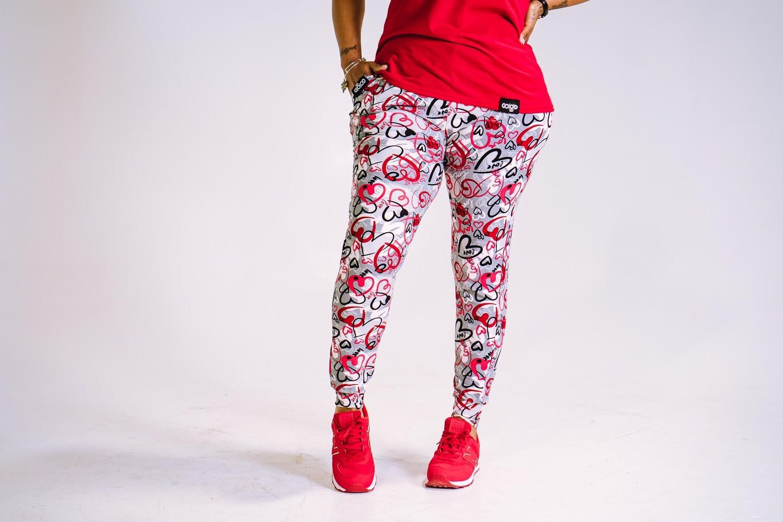 Women's GO(O)D LOVE joggers-red/gray/black/white