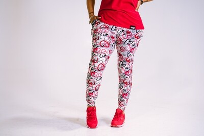 Women's GO(O)D LOVE joggers-multi-color red/gray/black/white