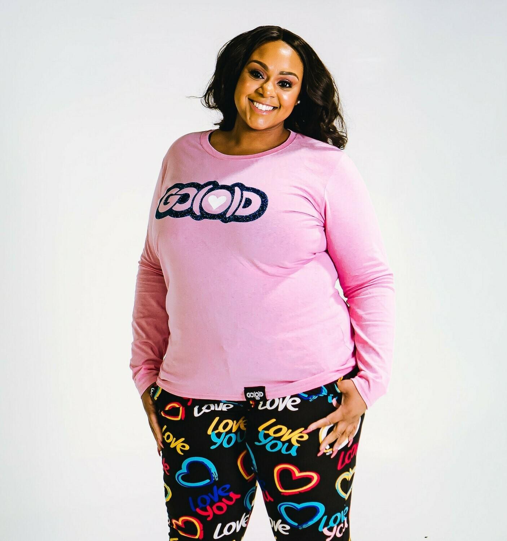 Women's GO(O)D LOVE long sleeve tee-pink/navy/white glitter logo