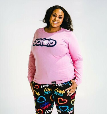 Women's GO(O)D LOVE long sleeve tee-pink/navy/white glitter logo