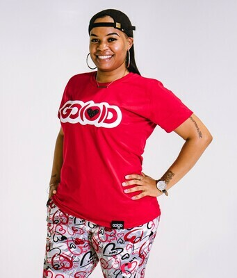 Woman's GO(O)D LOVE tee-red/white/black glitter logo