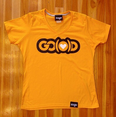 Women's GO(O)D LOVE V-Neck tee-gold/black/white glitter logo