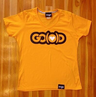 Women's GO(O)D LOVE V-Neck tee-gold/black/white glitter logo