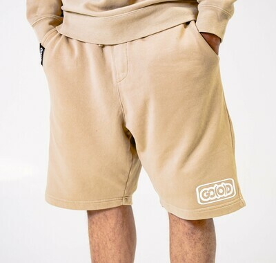 Lifestyle Shorts-tan/white inbox logo