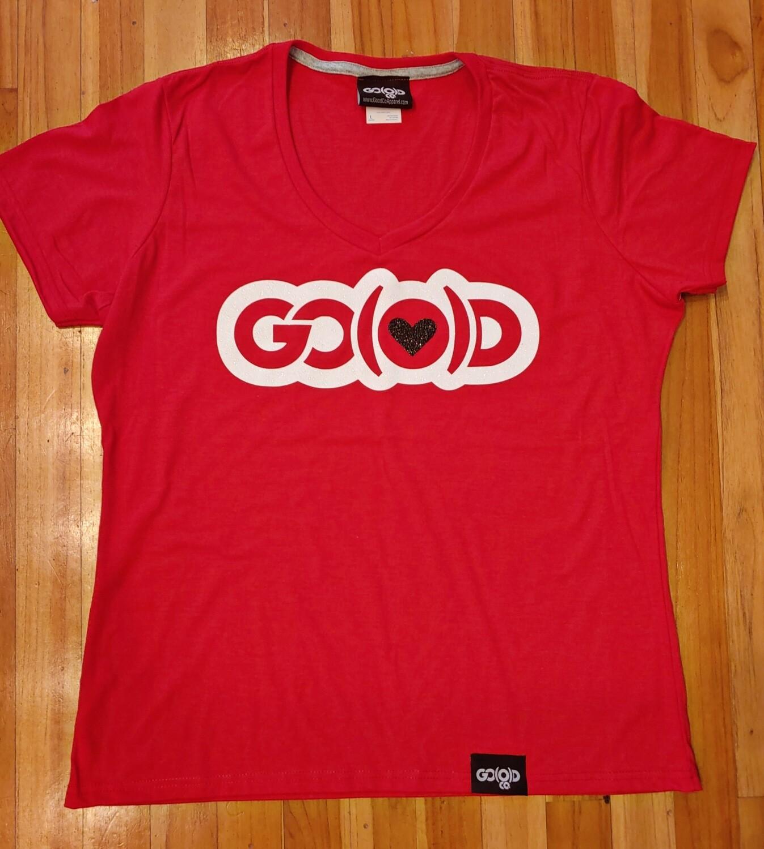 Women's GO(O)D LOVE V-Neck tee-red/white/black glitter logo