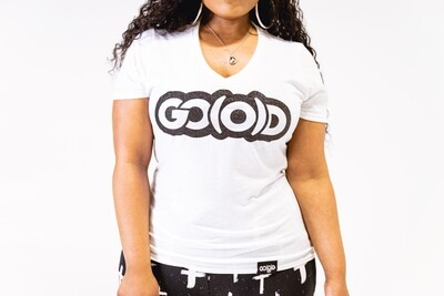 Women's GO(O)D V-Neck-white/black glitter logo