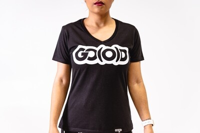 Women's GO(O)D V-NECK-black/white glitter logo