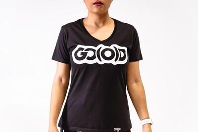 Women's GO(O)D V-NECK-black/white glitter logo