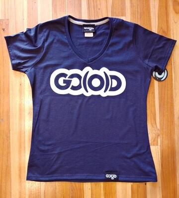 Women's GO(O)D V-NECK-navy/white glitter logo