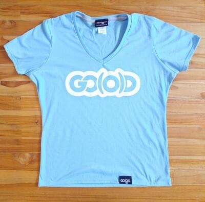 Women's GO(O)D V-Neck-aqua blue/white glitter logo