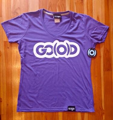 Women's GO(O)D V-Neck-purple/white glitter logo