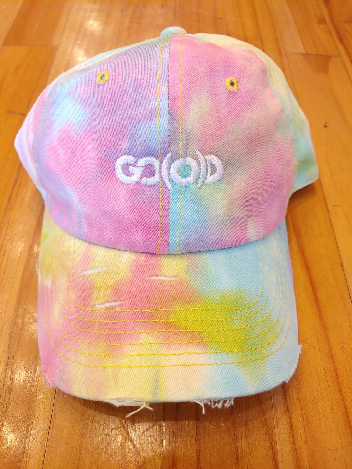 GO(O)D Distressed Dad Hat-cotton candy tie-dye