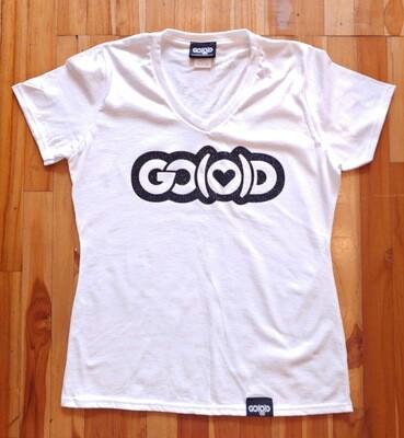 Women's GO(O)D Love Tee-white/black glitter logo