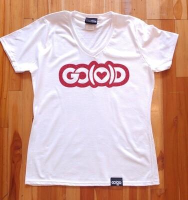 Women's GO(O)D Love Tee-white/red glitter logo