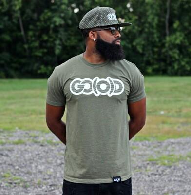 GO(O)D DOTS Tee-military green/white