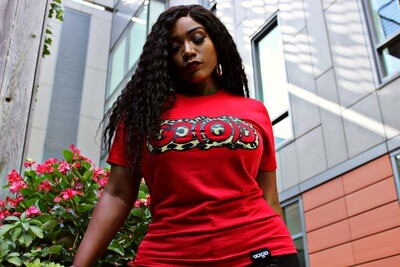 Women's Leopard Tee-red/tan/black