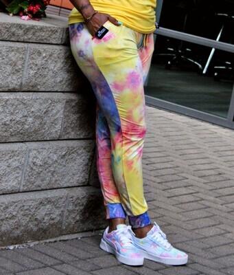 Women's Cotton Candy Joggers-multi-colored tie dye