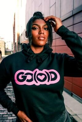 Crop Top GO(O)D Love Hoodie-black/hot pink glitter logo