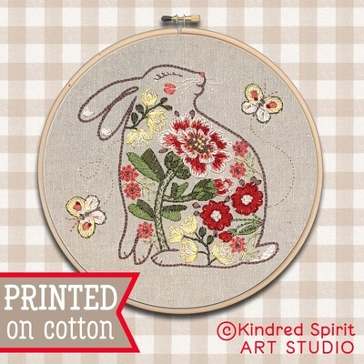 Bunny Hand Embroidery Kit  - Build your kit option - with hoop, without hoop or fabric print only