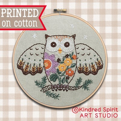 Owl Hand Embroidery Kit  - Build your kit option - with hoop, without hoop or fabric print only