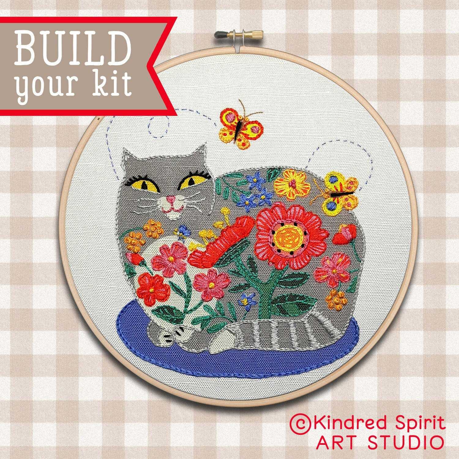 Grey Cat Hand Embroidery Kit  - Build your kit option - with hoop, without hoop or fabric print only