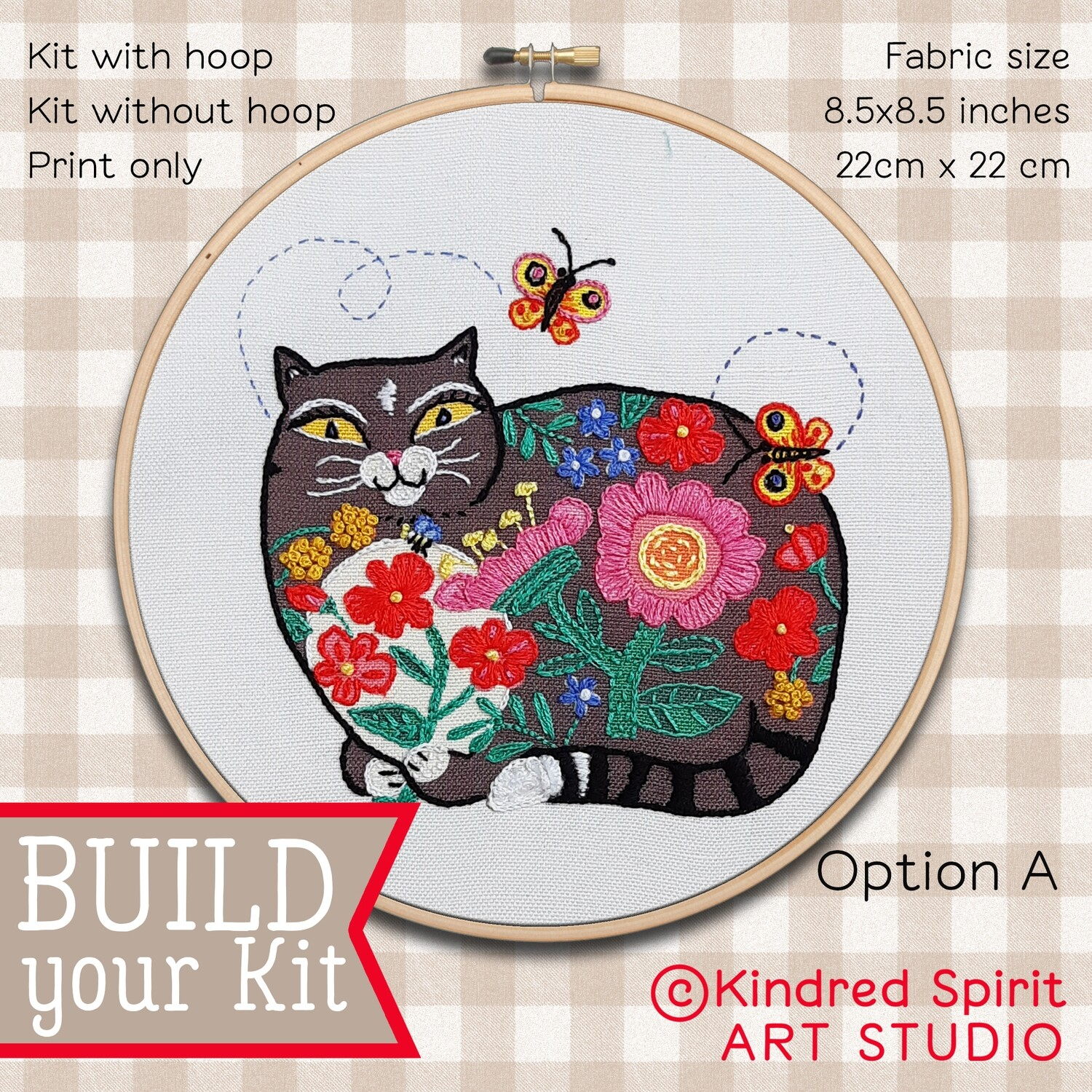 Black Cat Hand Embroidery Kit  - Build your kit option - with hoop, without hoop or fabric print only