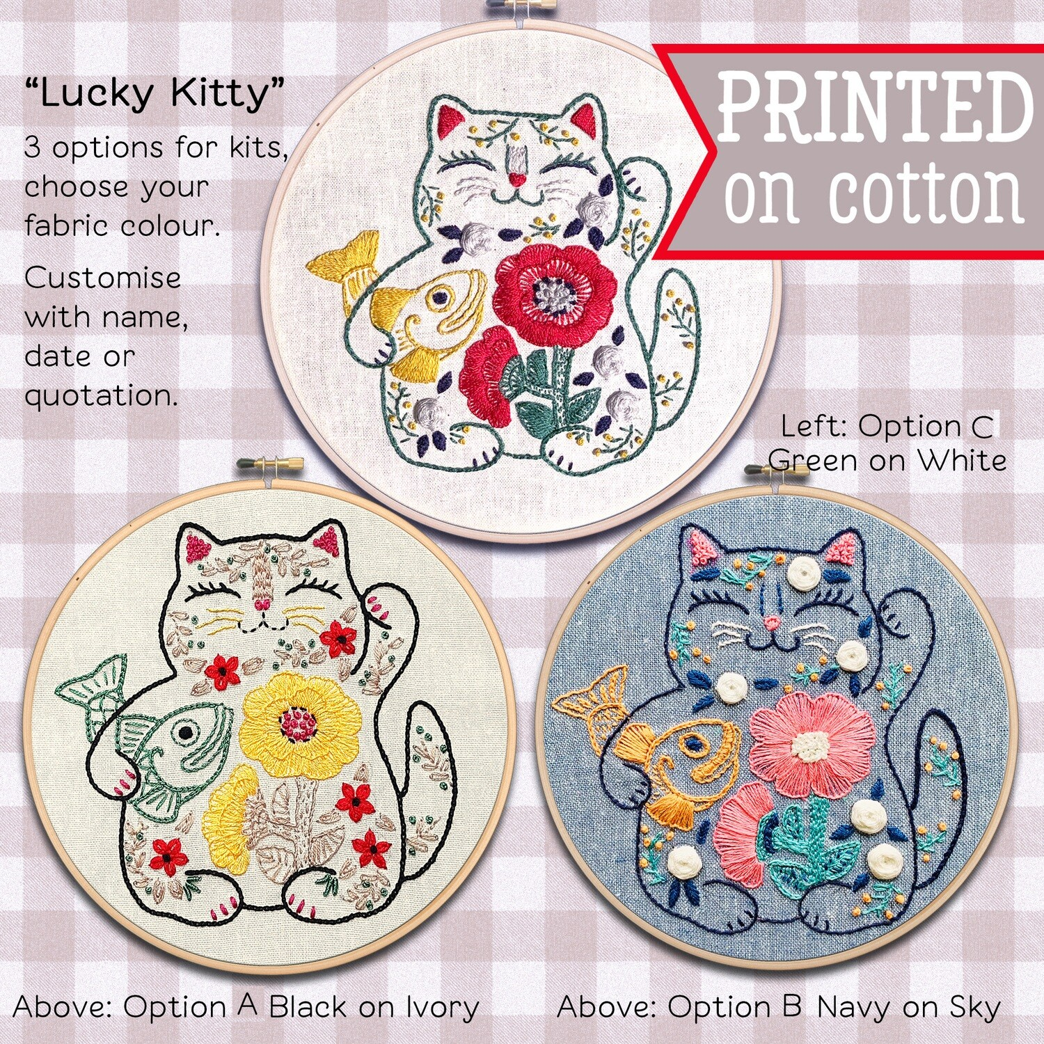 Lucky Cat Maneki Neko Hand Embroidery Kit  - Build your kit option - with hoop, without hoop or fabric print only