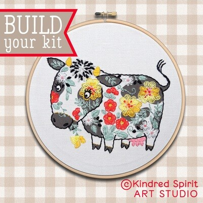 Cow Hand Embroidery Kit  - Build your kit option - with hoop, without hoop or fabric print only