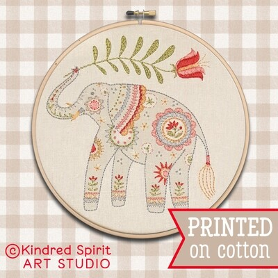 Elephant Hand Embroidery Kit  - Build your kit option - with hoop, without hoop or fabric print only