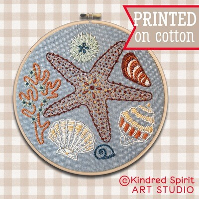 Seashells Ocean Embroidery Kit  - Build your kit option - with hoop, without hoop or fabric print only