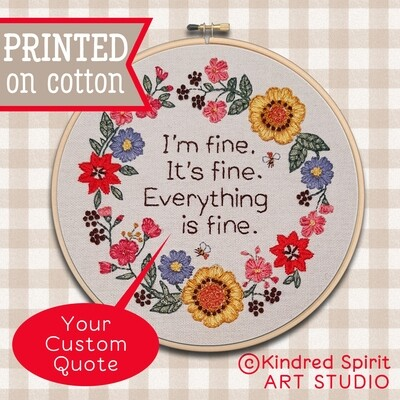 Wreath Hand Embroidery Kit  - Customisable Quote: Build your kit option - with hoop, without hoop or fabric print only