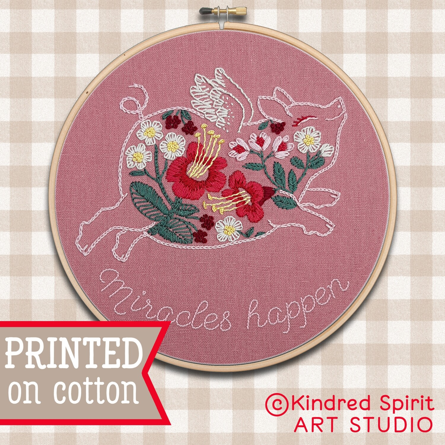 Pig Hand Embroidery Kit  - Custom Quote Embroidery