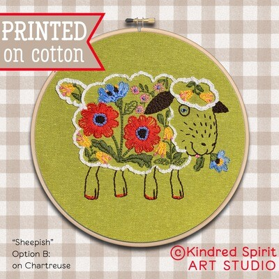 Sheep Hand Embroidery Kit  - Build your kit option - with hoop, without hoop or fabric print only