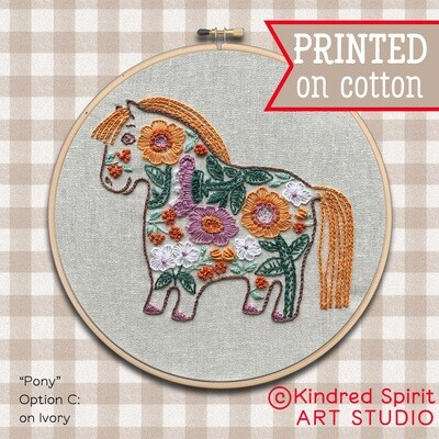 Pony Hand Embroidery Kit  - Build your kit option - with hoop, without hoop or fabric print only
